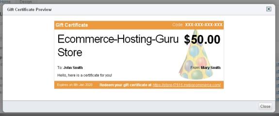bigcommerce gift certificate