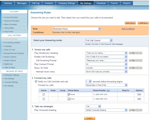 ringcentral answering rules