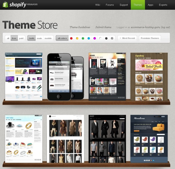 shopify theme selection