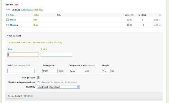 shopify item variant
